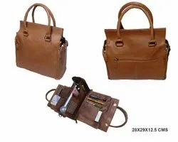 Brown Leather Mens Office Bags, Size/Dimension: 28x29x12.5 Cms