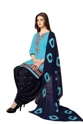 Casual Wear Cotton Embroidery Patiala Salwar Suit(G16-Sky Blue)