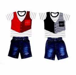 Denim Western Boys Printed Dress, Size: M