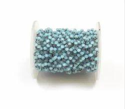 Blue Chalcedony  Beads Brass Handmade Rosary Chain