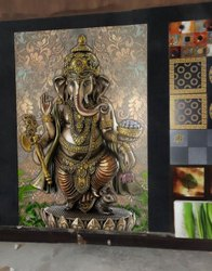 Embossed vinayagar wall tile