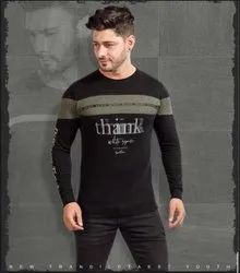 Round Full Sleeves Mens Printed Cotton T Shirt
