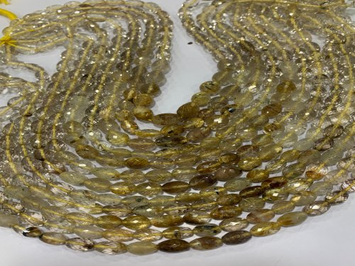 Golden Rutile Olive Shaped Faceted Beads