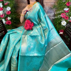 Party Wear JACQUARD BORDER DESIGNER INDIAN SAREE, With blouse piece, 6.3