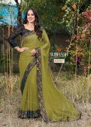 65007- Fancy Chiffon Jari Geometric Work Saree By Subhash Brand