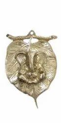 Golden Brass Peepal Leaf Ganesh, For Decoration
