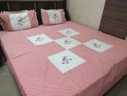 Pink Embroidered Cotton Queen Size Double Bed Sheet