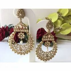 Party,Wedding Antique Gold Chandeliers / Chand Bali / Polki Earrings