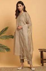 Janasya Women''s Light Brown Poly Chanderi Kurta With Pant And Dupatta(J0281)