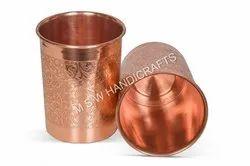Copper EMBOSS Designer Glass Utensil Drinkware Best for Home & Office Decoration & Gift Purpose