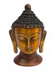 Laxman Art Bronze Vintage Old Brass Golden Buddha Head Idol Statue, Size/Dimension: 3 X 2.5 X 4.5 Inch