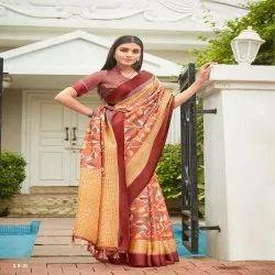 SHVETAMBAR Prinded Ladies Designer Saree, 6 m (with blouse piece)