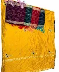 Embroidered Wedding Wear Hand Work Silk Saree, 5.5 m (separate blouse piece)