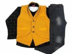 Yellow,Black Boy Kids Yellow Baba Suit