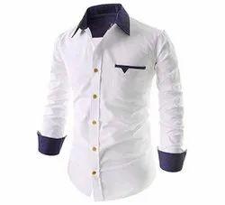 White and Blue Collar Neck Mens Cotton Plain Shirt, Machine wash