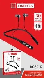 Black In The Ear Oneplus Nord 12 Wireless Headset, Bluetooth Version: 5.0, Weight: 220 G