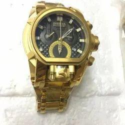 Round Luxury(Premium) Men's Reserve Quartz Black Dial Watch, For Personal Use