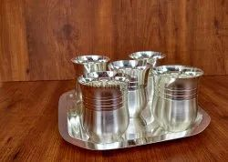 Silver Stainless Steel Matka Glass Set - 3002
