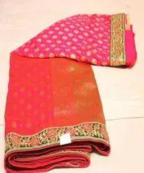 Zari Party Wear Fancy Ladies Saree, 6 m (with blouse piece)