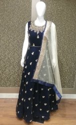 Brandzfashion Velvet Embroidery Anarkali Suit with Net Dupatta