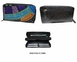 Handpainted Ladies Leather Wallet