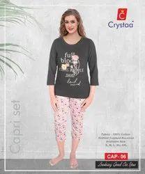 Casual Cotton Ladies Capri Set, Size: s-xXl