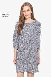 Cotton Ladies Blue Printed Party Wear Dress