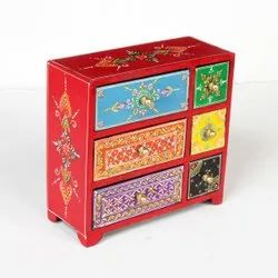 Square Wooden 6 Drawer Decoration Jewellery Box, Size/Dimension: 8.5x3.5x8.5 Inch