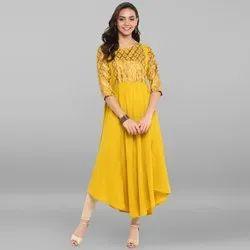 Janasya Women's Yellow Poly Crepe Kurta(JNE3294)