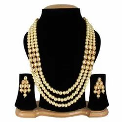 Kundan Stone And Off White Pearl Necklace Set, Size: Adjustable