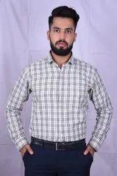 Cotton Collar Neck Men Casual Check Shirt, Machine wash & Hand wash, Size: M,Xxl
