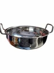 Silver Colour Stainless Steel Kadhai, For Home, Capacity: 3 Litre