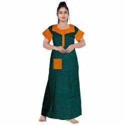 Half Sleeve Yellow,Green Women Baraso Sleepwear Nighty, Size: XL