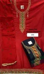 Wedding Wear Chanderi Embroidery Suit