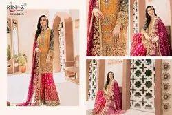 Anarkali Semi-Stitched Emaan Adeel Rinaz Georgette Suit, Dry clean