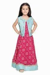 Festive Wear Magenta Long Dress with Sky Blue Jacket