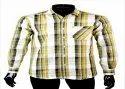 Jpnd Collar Neck Mens Yellow Cotton Checkered Shirts