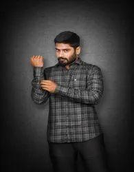 Decker Cotton Mens Designer Check Shirt, Handwash, Size: Small