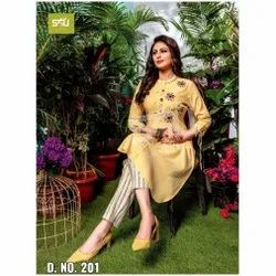 Casual Wear Straight S4U Brand Cotton Kurtis Collection, Wash Care: Dry clean
