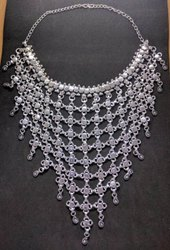 Silver Meenakari Long Necklace