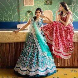 Present Tafeta Silk With Embroidery Work Wedding Lahenaga Choli