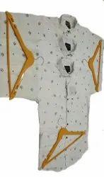 Printed White Mens Linen Flux Cotton Casual Shirt