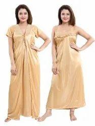Plain Beige Ladies Stylish Satin Nightgown Set