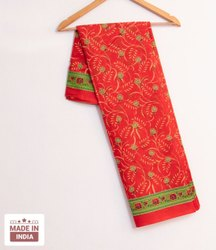 Red Casual Wear Cotton Printed Saree, Without Blouse Piece, 5.5 m (Separate Blouse Piece)