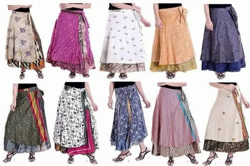 Wrap Around Reversible Skirt Ankle Length in Blue and made from recycled saris Stylish ethical fashion