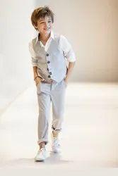 White and Grey Kids Plain 3 Piece Suit