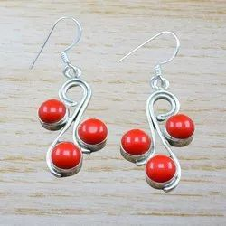 Beautiful Coral Gemstone 925 Sterling Silver Earrings WE-3666