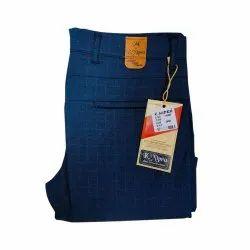 Regular Fit Formal Wear Mens Navy Blue Cotton Trouser