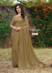 Party Wear Chikoo 65005- Exclusive Chiffon Beige Foil Work Saree By Subhash Brand, Machine Made, Size: 6.3 Mr With Blouse