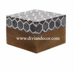Hexadic Wooden Bone Inlay Box